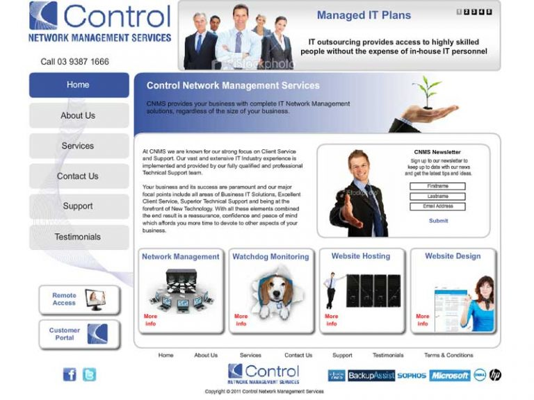 Control Network Management Services - Flash/HTML website
