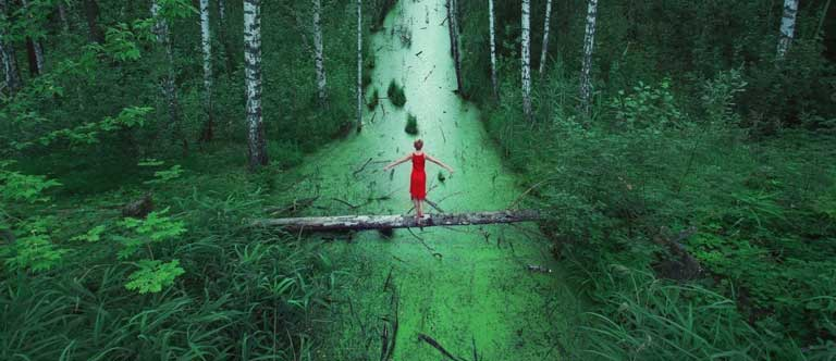 Lady with red dress in forest
