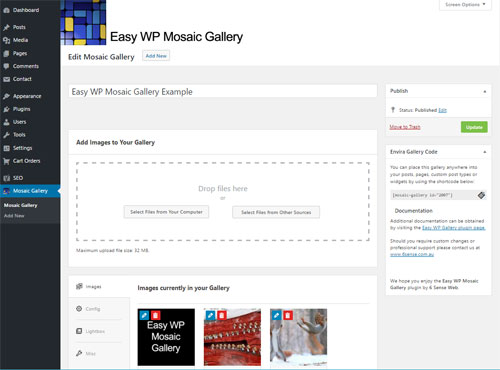 Easy WP Mosaic Gallery settings
